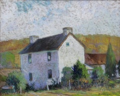 The White House, American Impressionist Landscape with House, Pastel on Paper