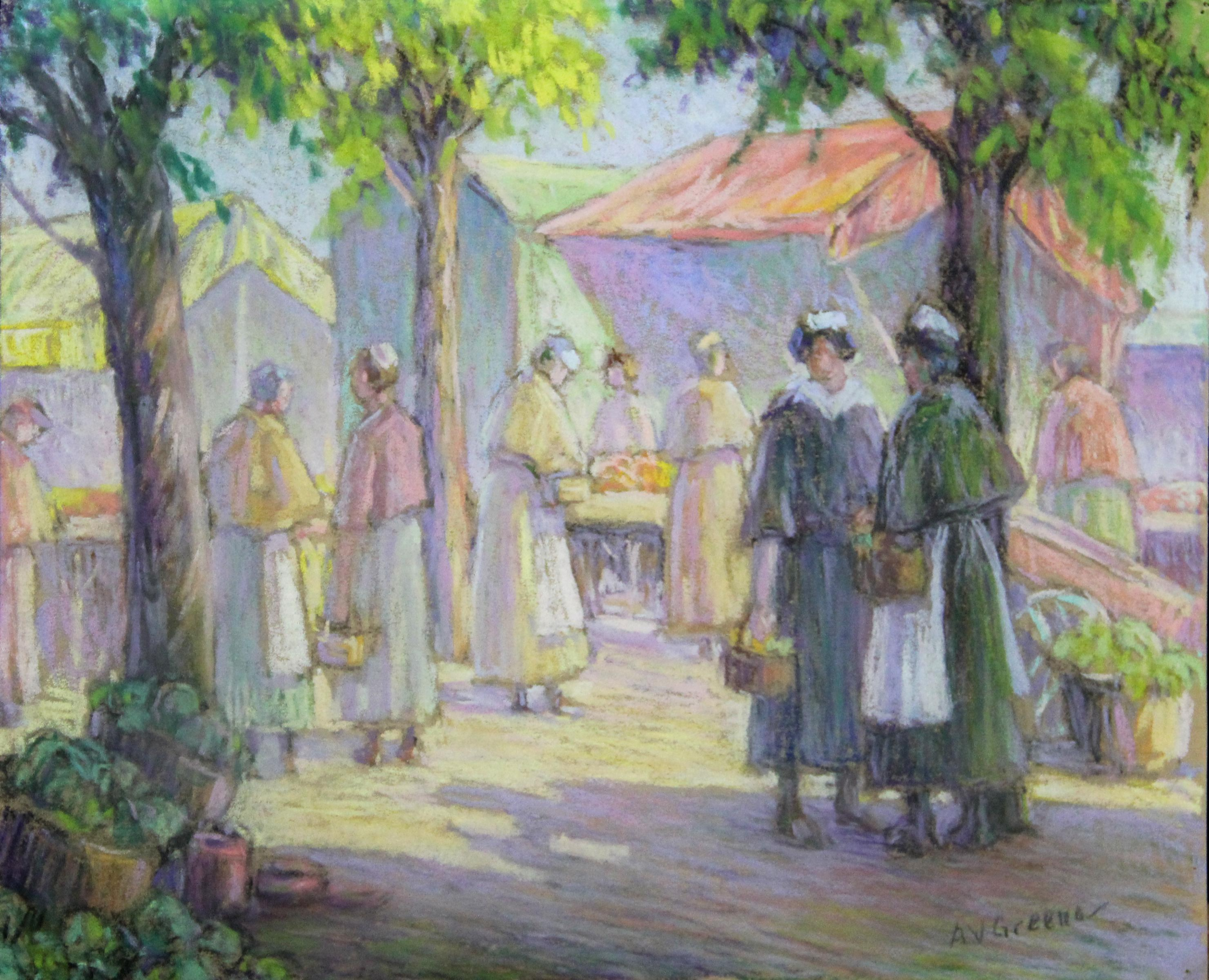 Afternoon at the Market , American Impressionist Town Scene, Pastel on Paper