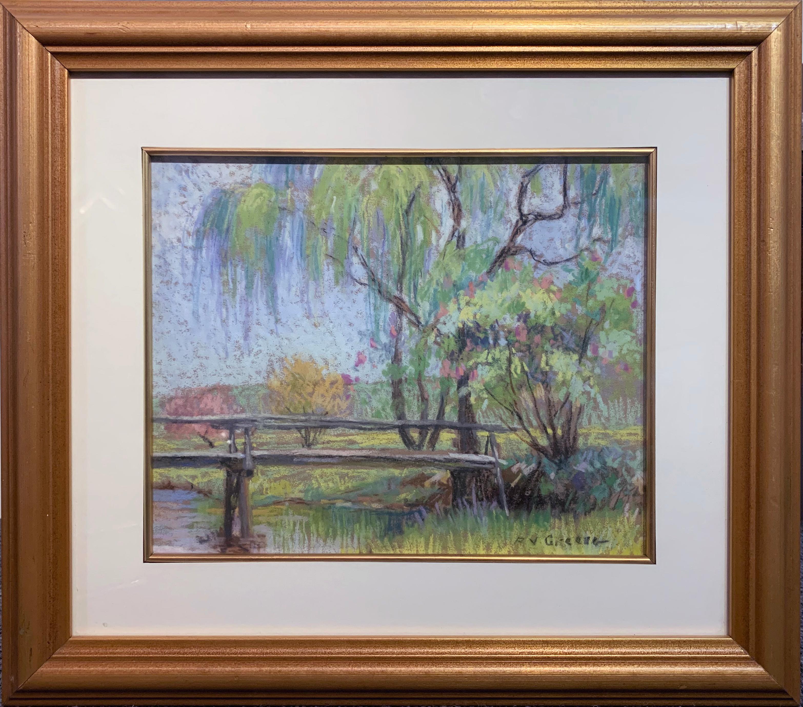 The Bridge, American Impressionist Springtime Landscape, Pastel on Paper