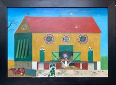 Tobacco Barn, Folk Art Landscape with Figure and Farm Animal, Pennsylvania Dutch
