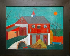 Barn Hill, Folk Art Landscape with Figure, Pennsylvania Dutch, Traditional Farm