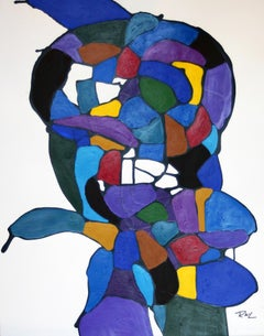 Tidy Slapper, Figurative Abstraction, Acrylic on Paper, Modernist Abstract, 1995