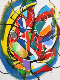 Cerebral, Color Abstraction, Acrylic on Paper, Modernist Abstract, 1995
