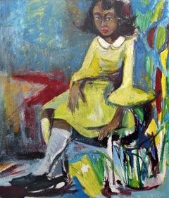 Girl in a Yellow Dress, Portrait in Color, Oil on Board, African American Art