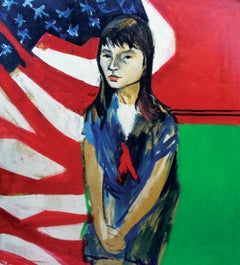 Stars and Stripes, Female Portrait with American Flag, African American Art
