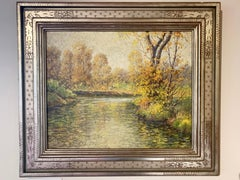 Reflections, American Impressionist Landscape by Stream, Oil on Canvas