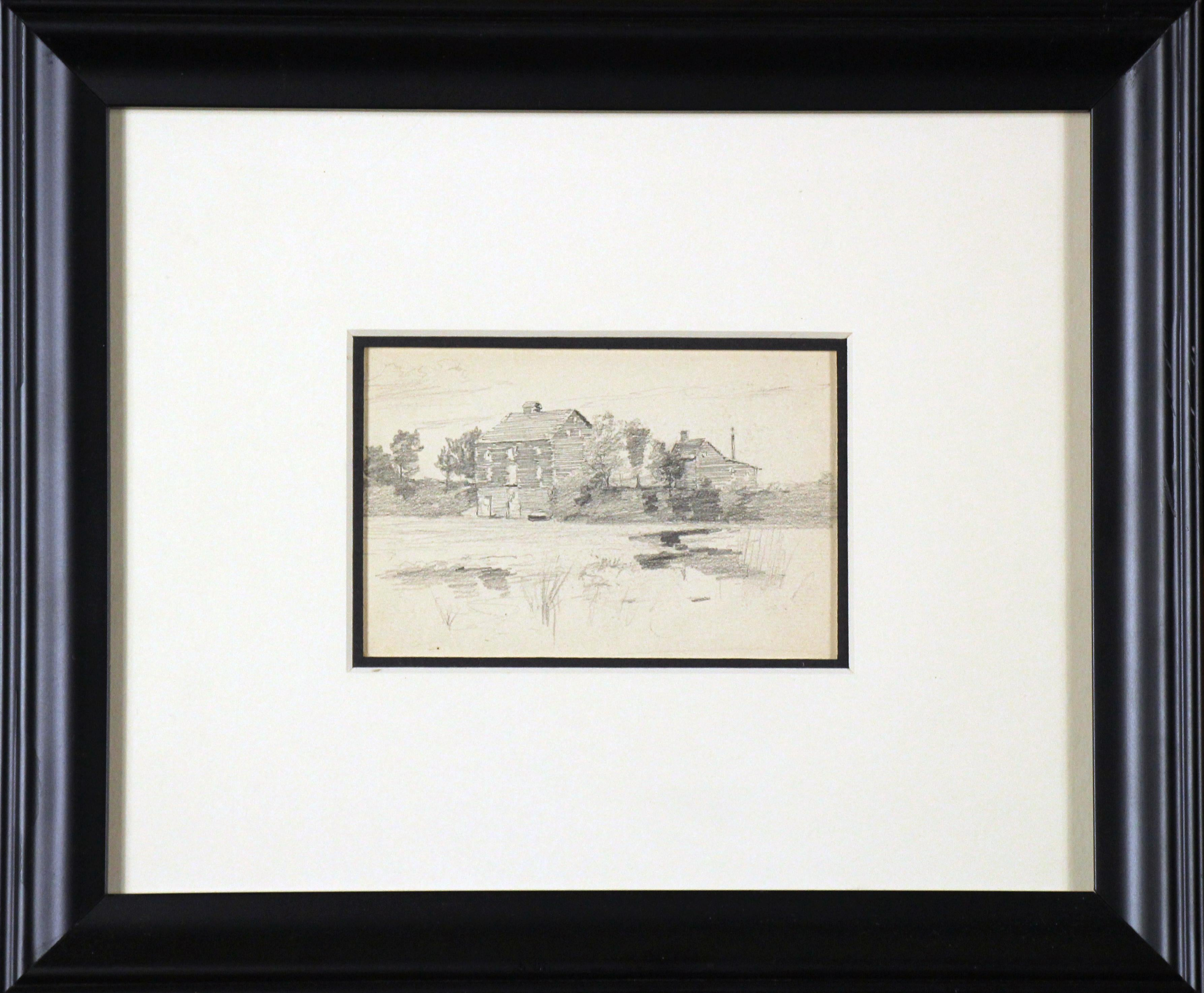 Two Landscapes, American Impressionist, Double Sided Drawings on Paper, 1899