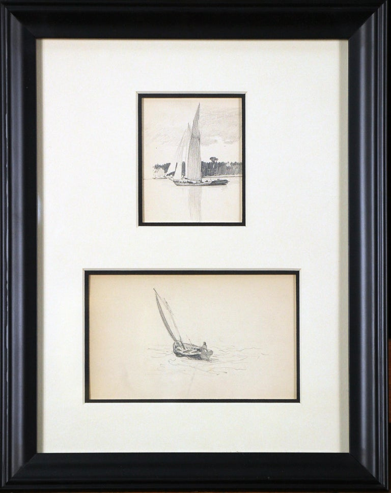 Henry Bayley Snell Landscape Art - Two Sailboats, American Impressionist, Pencil Drawings on Paper, 1899