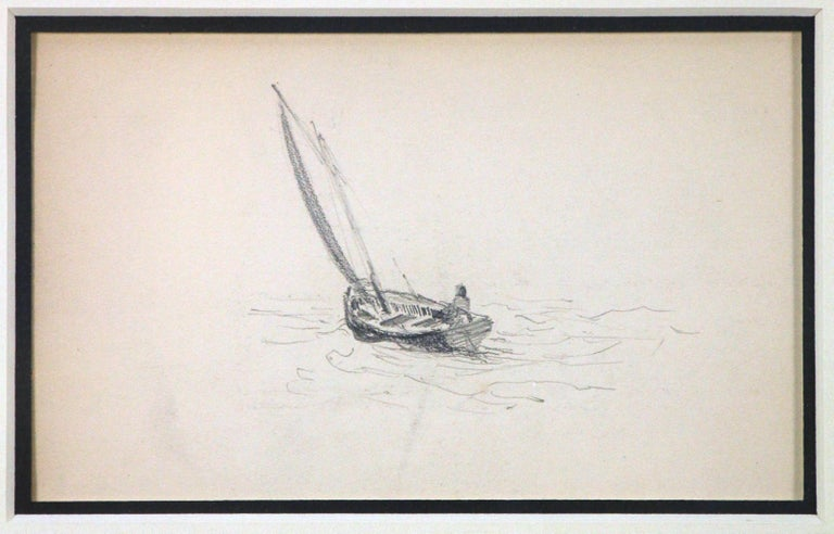 Two Sailboats, American Impressionist, Pencil Drawings on Paper, 1899 - Art by Henry Bayley Snell