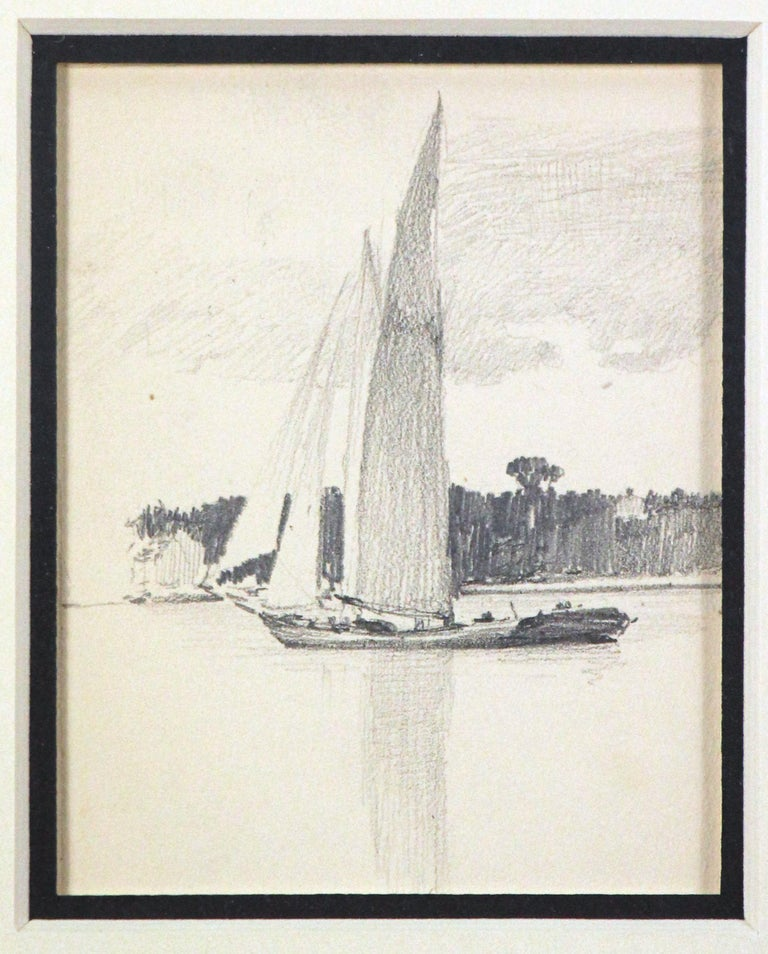 Two Sailboats, American Impressionist, Pencil Drawings on Paper, 1899 - Gray Landscape Art by Henry Bayley Snell