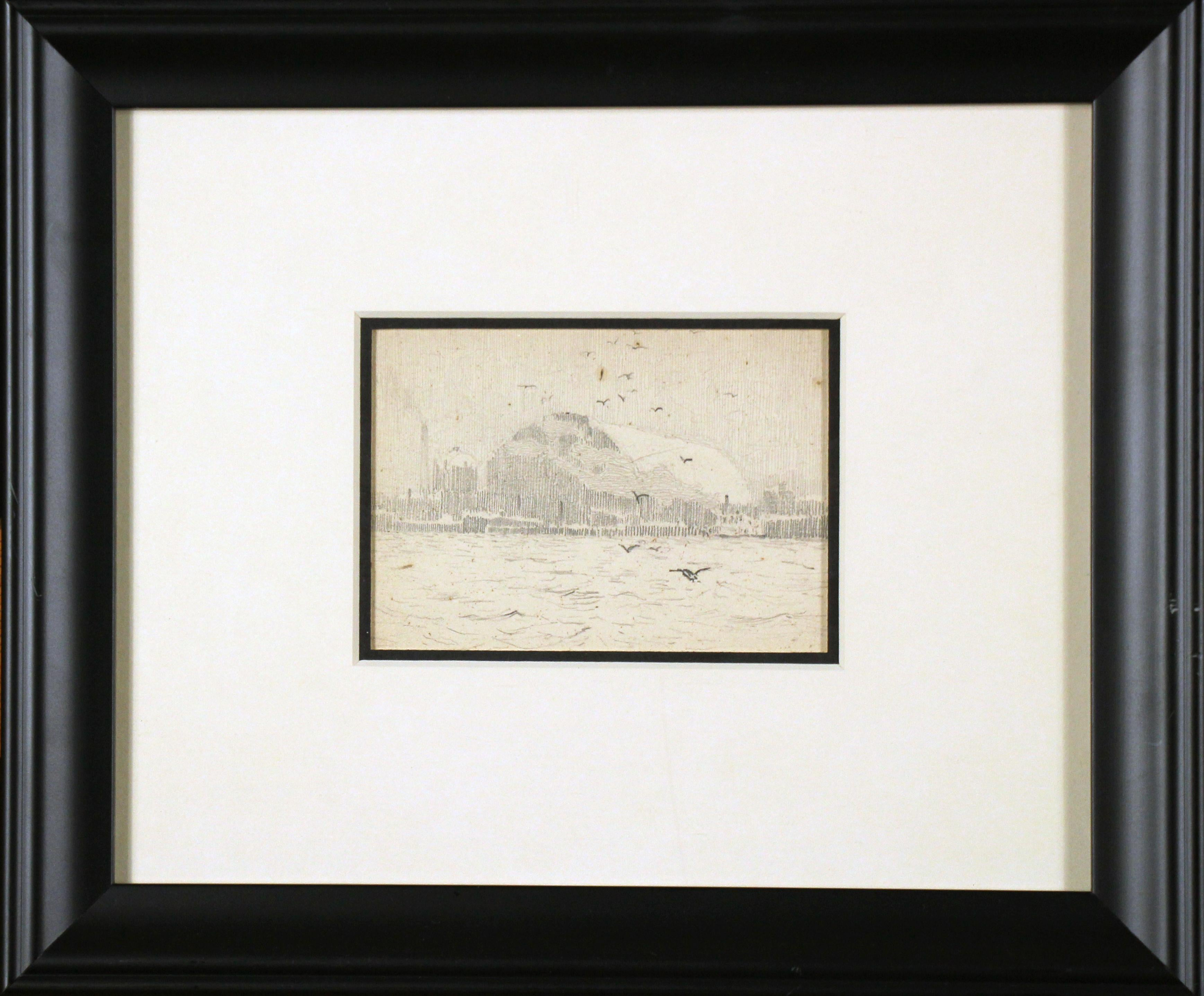 Boatyard with Seagulls, American Impressionist, Pencil Drawing on Paper, 1899