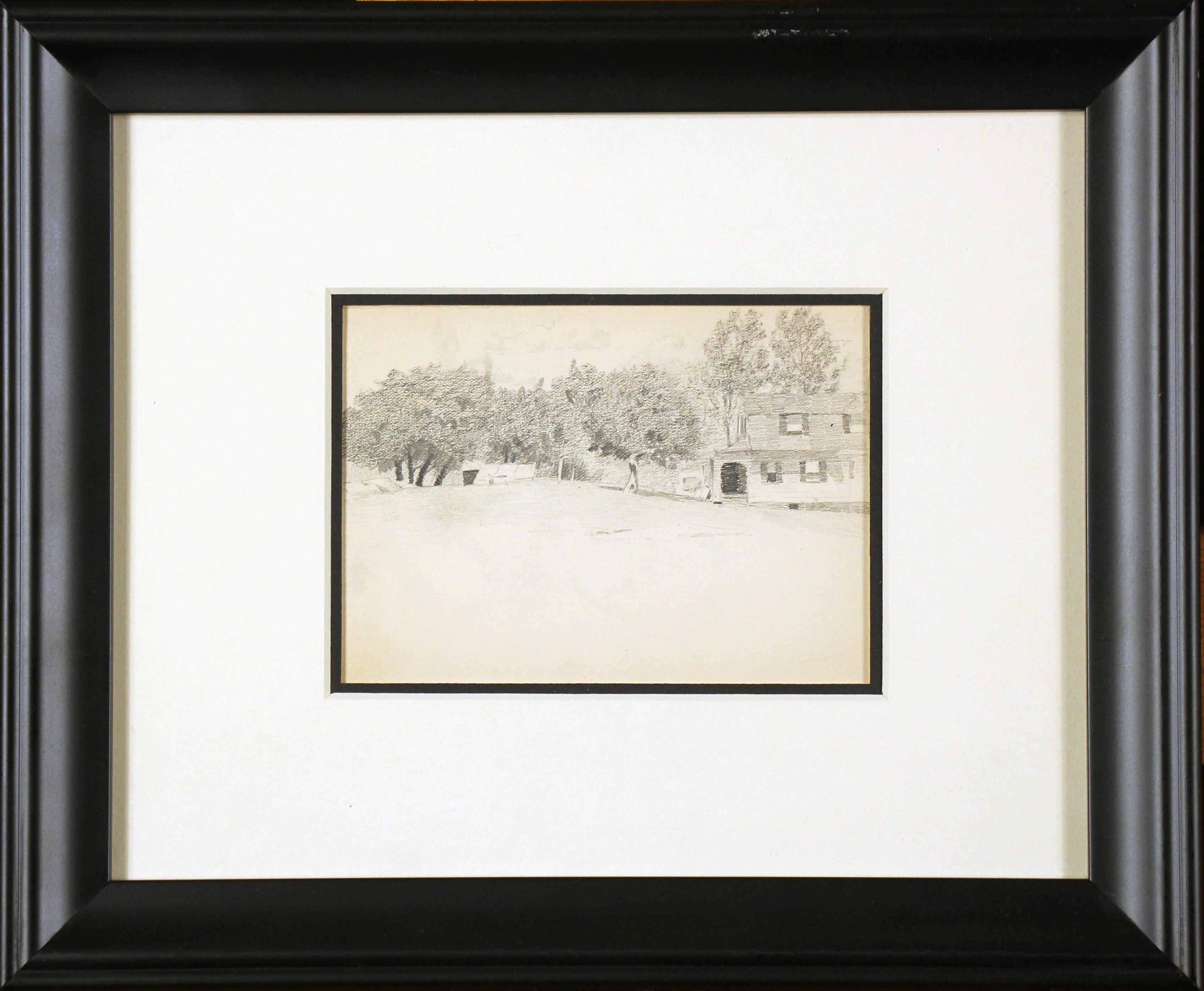 Bucks County Farmhouse, American Impressionist, Pencil Drawing on Paper, 1899