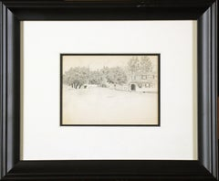 Bucks County Farmhouse, American Impressionist, Pencil Drawing on Paper, 1899