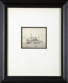 Steamer Ship, American Impressionist, Pencil Drawing on Paper, 1899