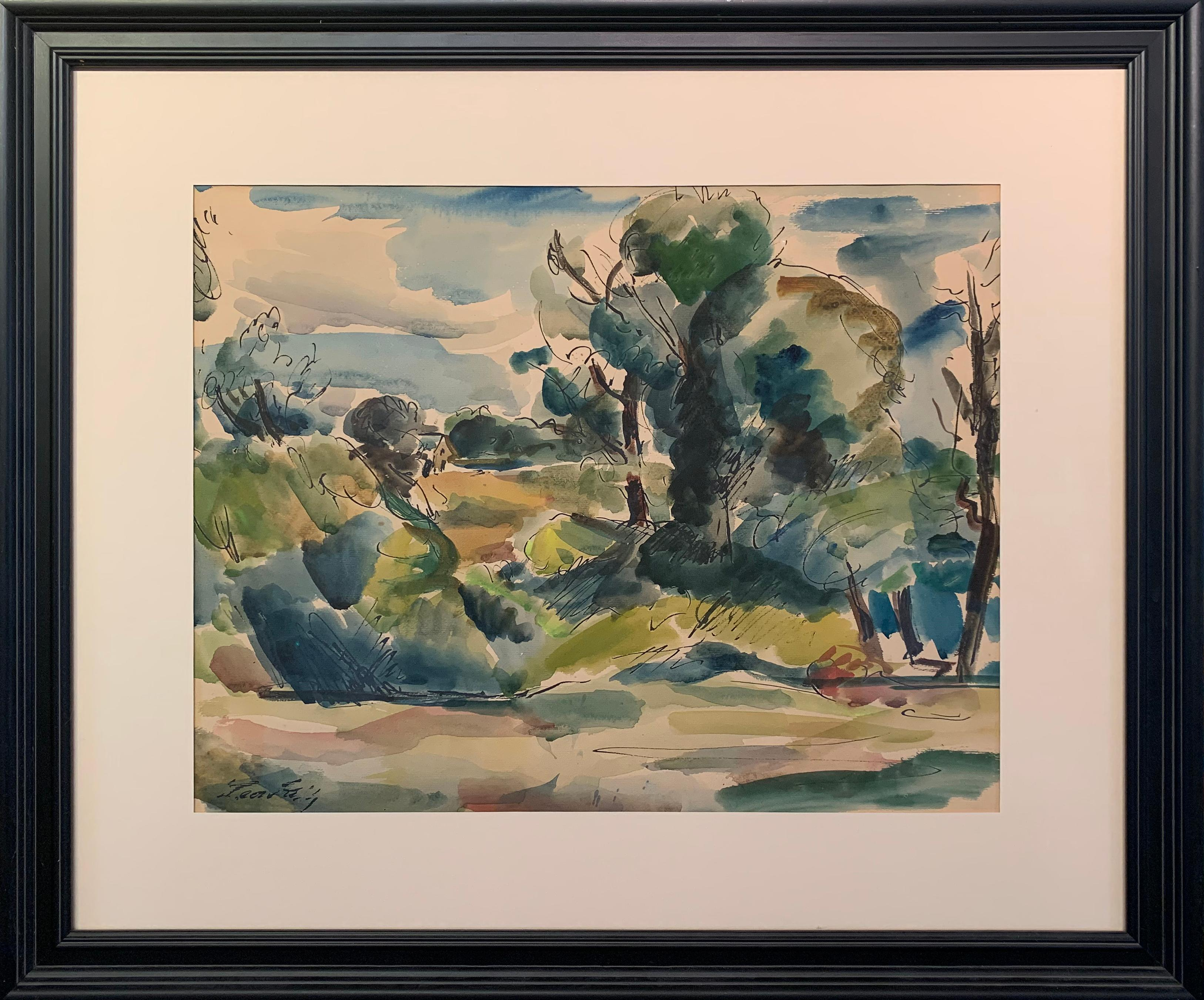 Green Landscape, Watercolor and Ink on Paper, circa 1926