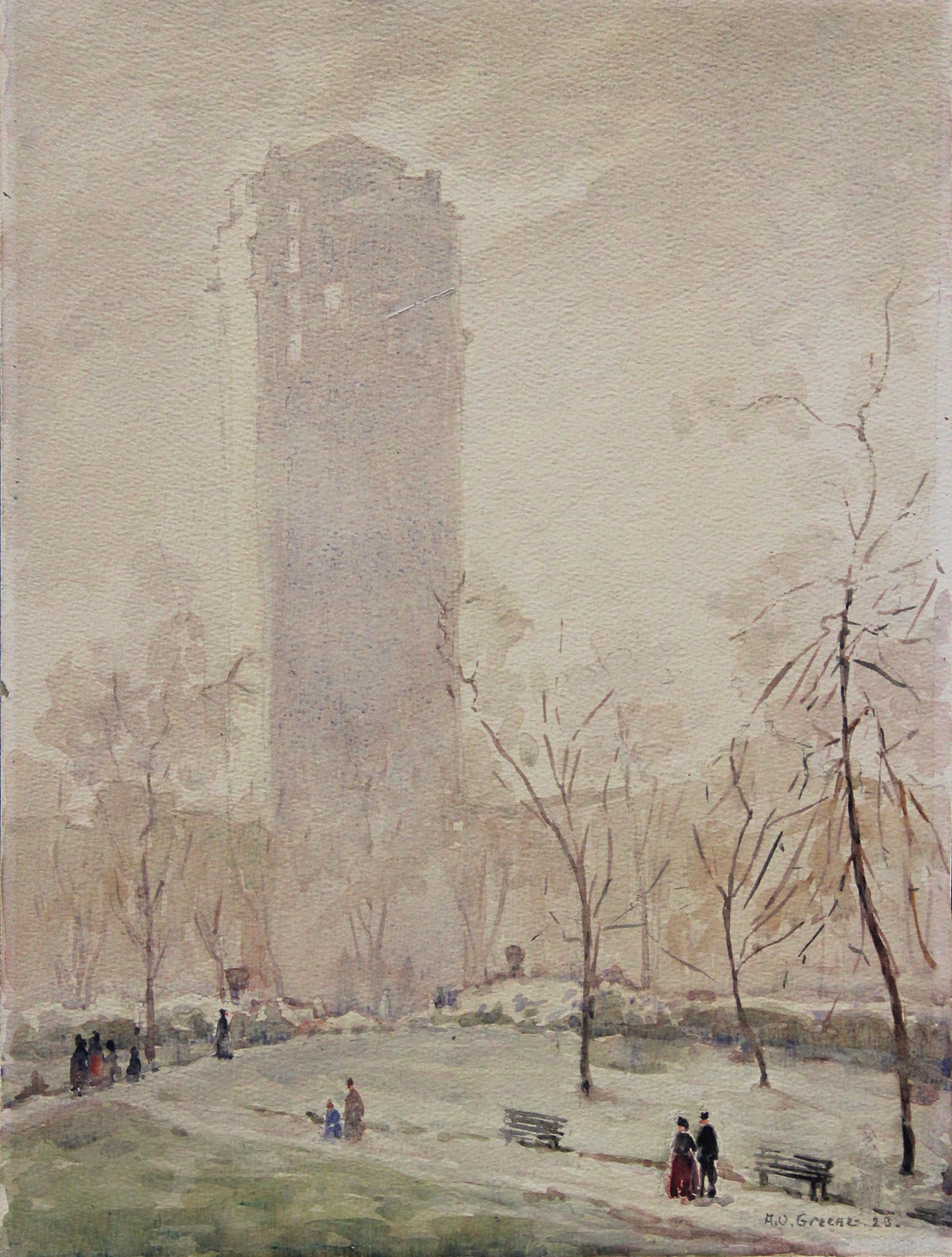 Central Park, American Impressionist Winter Cityscape, Watercolor on Paper, 1923