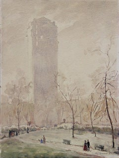 Central Park, American Impressionist Winter Cityscape, Watercolor on Paper, 1923