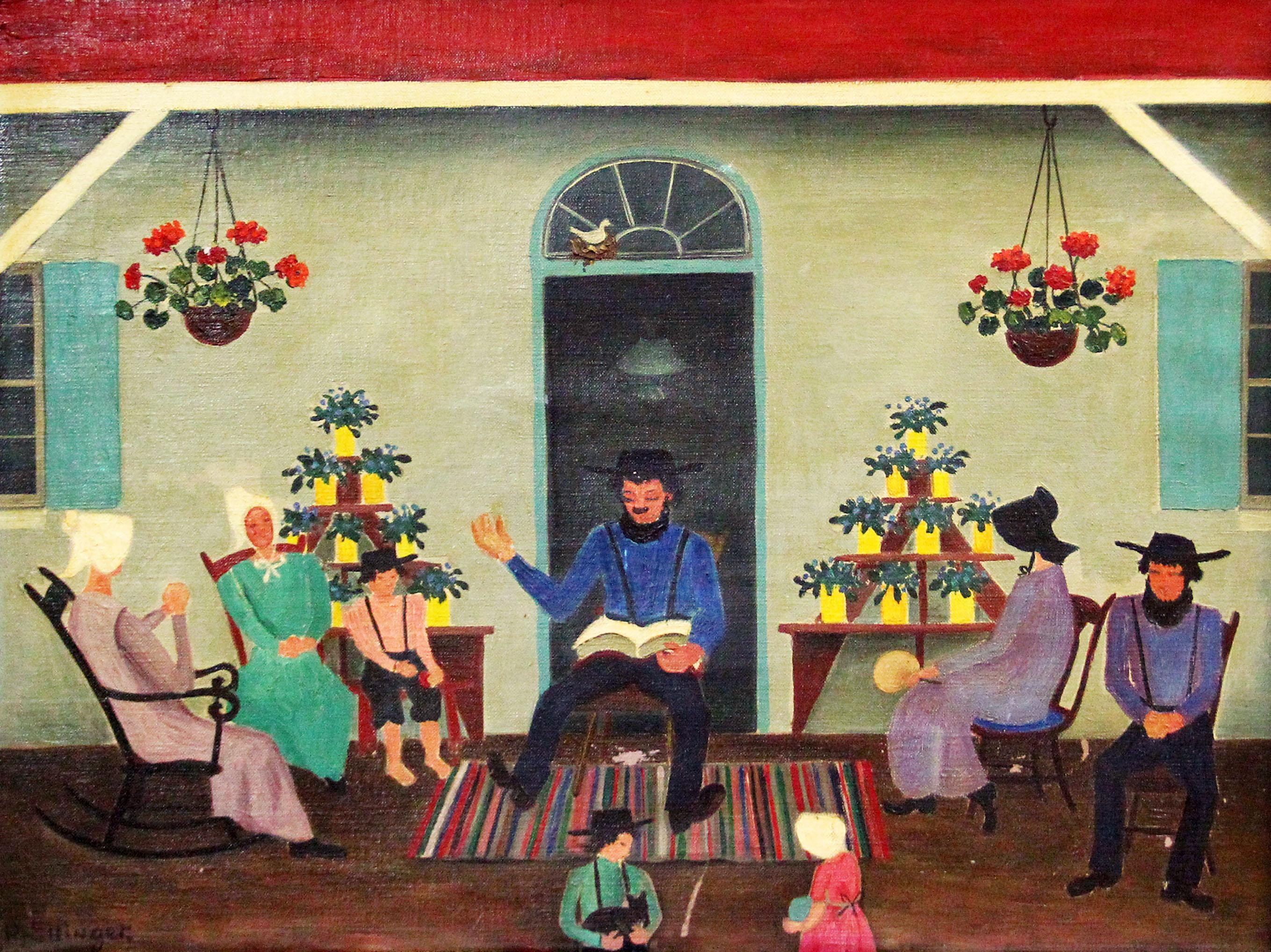Day of Rest, Folk Art Family Scene, Pennsylvania Dutch, Amish Interior
