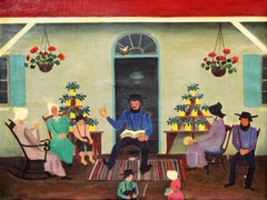 Day of Rest, Folk Art Family Scene, Pennsylvania Dutch, Amish Interior
