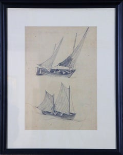 Two Schooners, Pencil on Paper Drawing, Pennsylvania Impressionist Artist