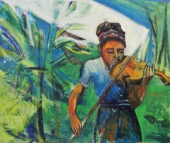 Jazz, Portrait of Woman with Violin, Oil on Board, African American Art