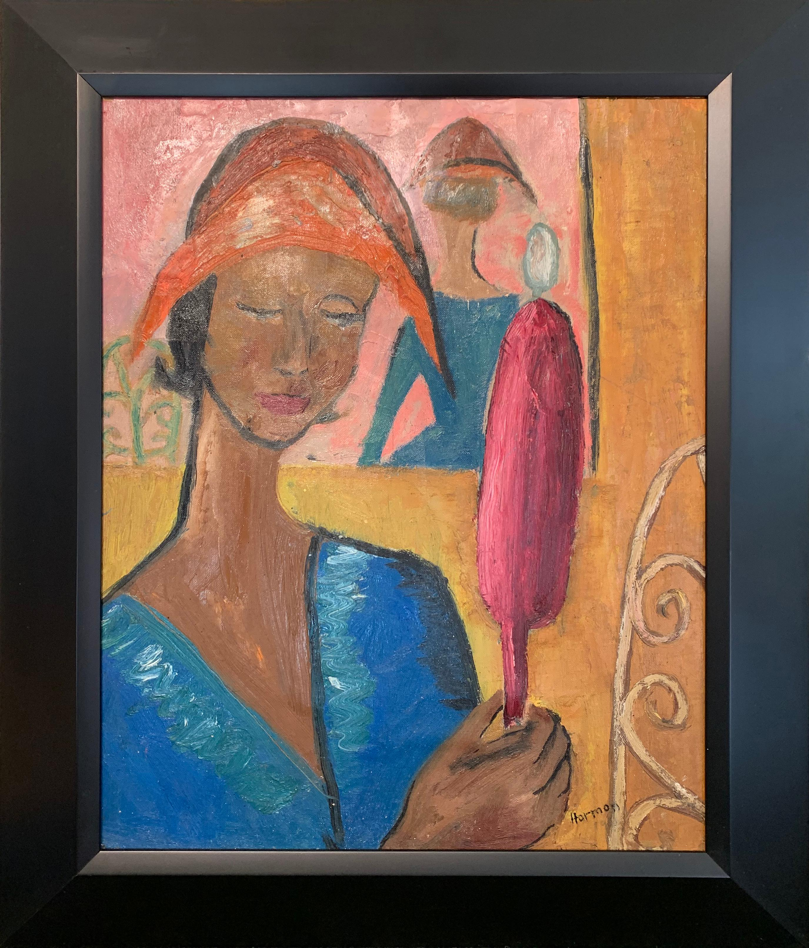 New Hat, Portrait of Woman, Oil on Cardboard, African American Art, Signed