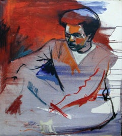 Modern Man, Portrait of man in Red, White, and Blue , African American Art