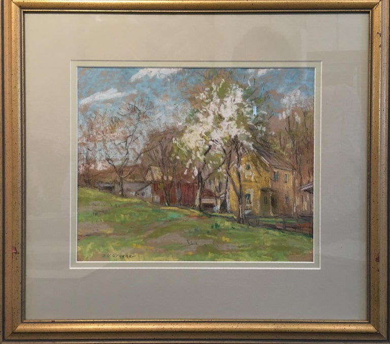 Landscape with Houses and White Tree, American Impressionist, Pastel on Paper - Painting by Albert Van Nesse Greene
