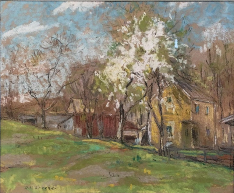 Albert Van Nesse Greene Landscape Painting - Landscape with Houses and White Tree, American Impressionist, Pastel on Paper