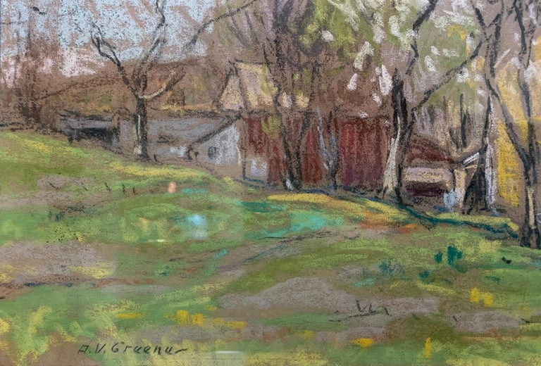 Landscape with Houses and White Tree, American Impressionist, Pastel on Paper - Brown Landscape Painting by Albert Van Nesse Greene
