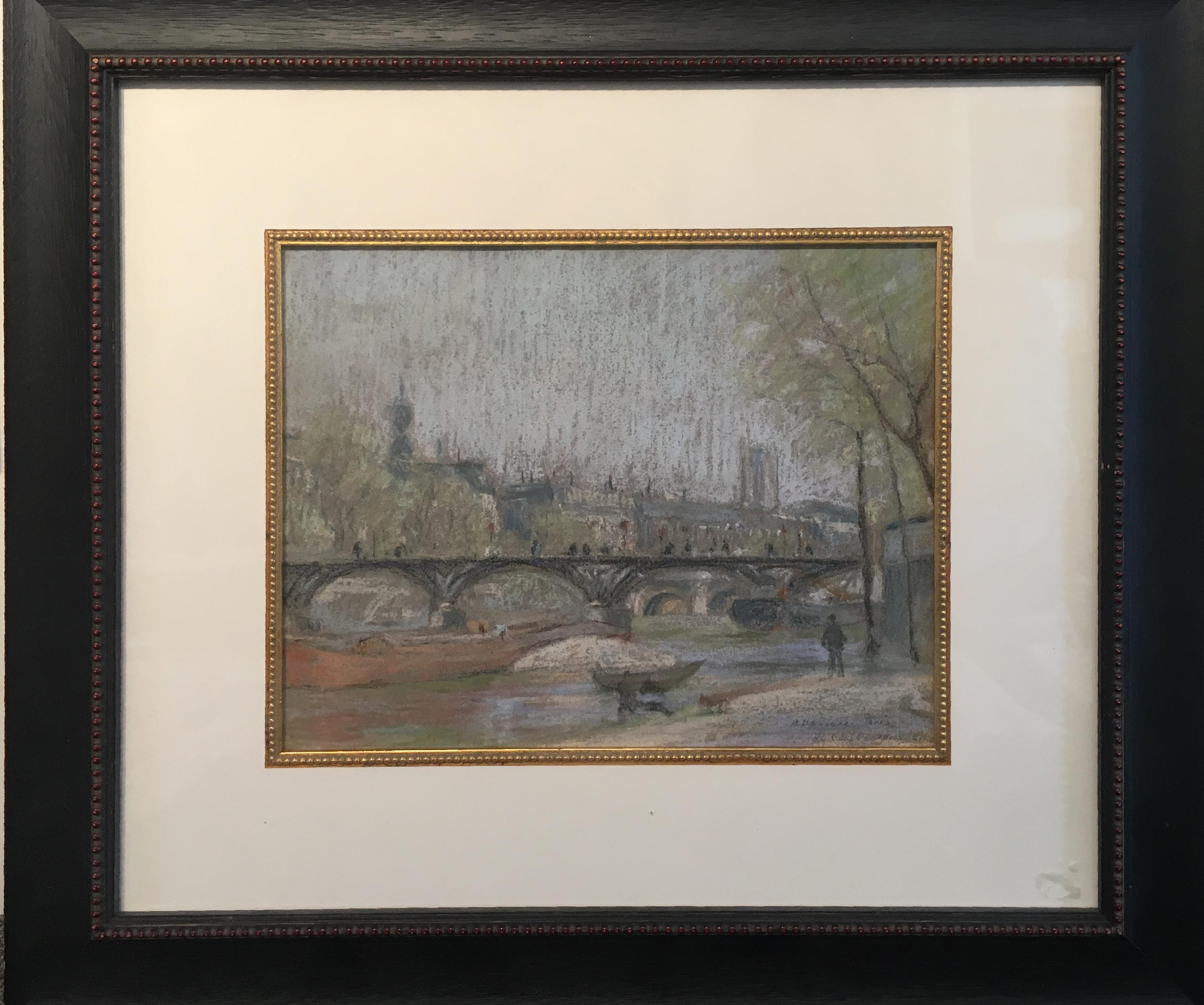 Pont Des Arts, Paris, American Impressionist in Paris, Pastel on Paper