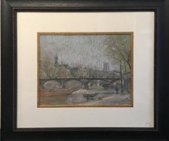 Pont Des Arts, Paris, American Impressionist in Paris, Pastel on Paper