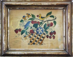 Still Life Theorem, German Style, Pastel on Velvet, Pennsylvania Folk Art