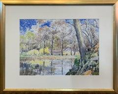 Forsythia, American Impressionist Spring Landscape, Watercolor on Paper
