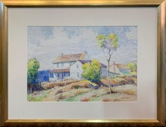 Pennsylvania Farmhouse, American Impressionist Landscape, Watercolor on Paper