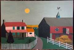 Harvest Sky, Folk Art Landscape with House and Barn , Pennsylvania Dutch Style
