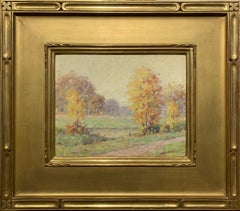 Autumn on Canal, American Impressionist Landscape,  Oil on Board, Signed