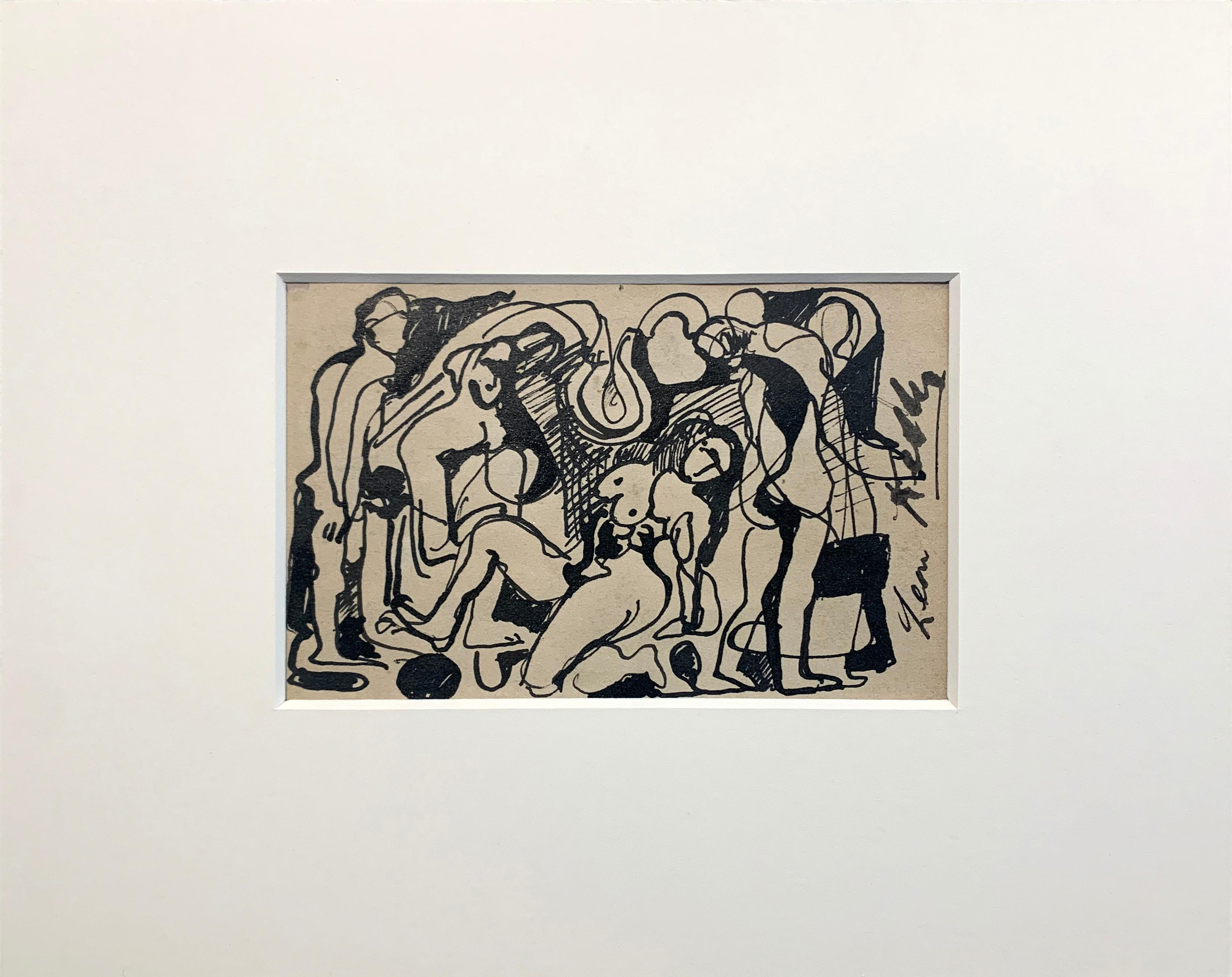 Group of Nudes, Cubist Style Figurative Drawing, Ink on Paper, Signed