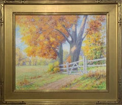 Golden Maple, American Impressionist Landscape, Signed and Framed, Oil on Board