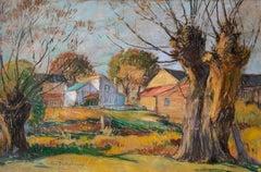 The Golden Hour, American Impressionist Landscape, Pastel on Paper, Framed