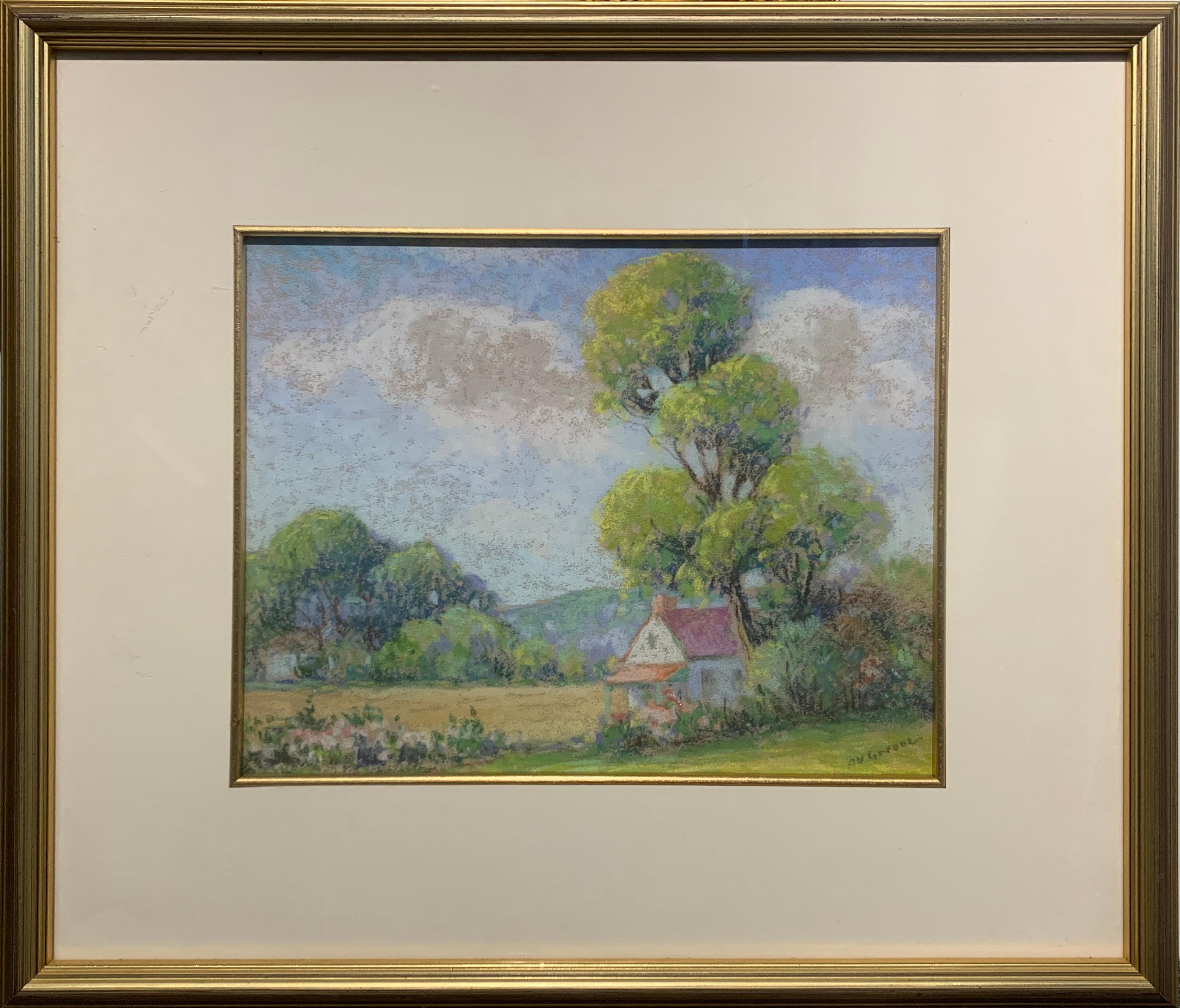 Houses in Summer, New Hope, American Impressionist Landscape, Pastel on Paper