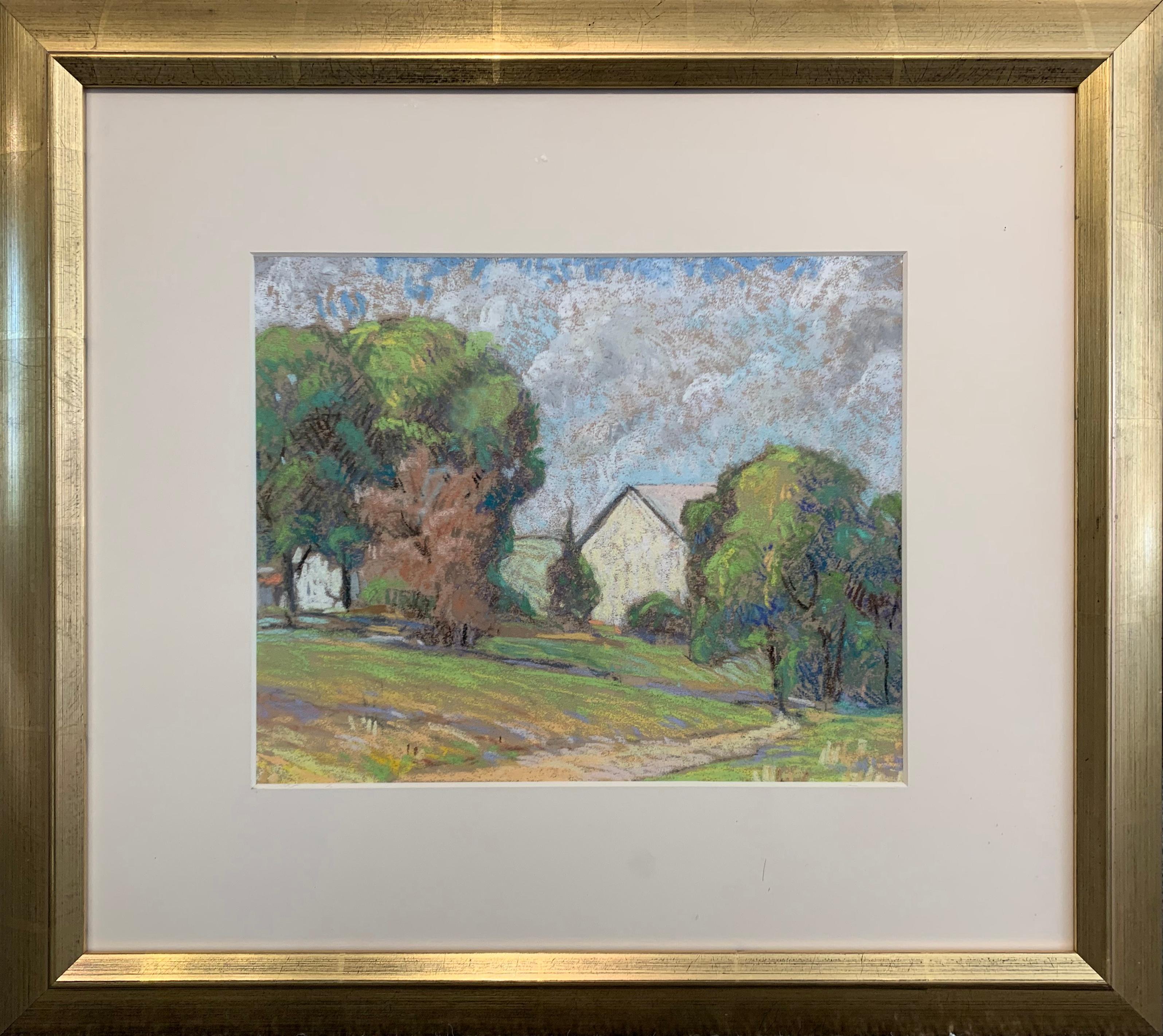 Spring Barn, American Impressionist Landscape, Pastel on Paper
