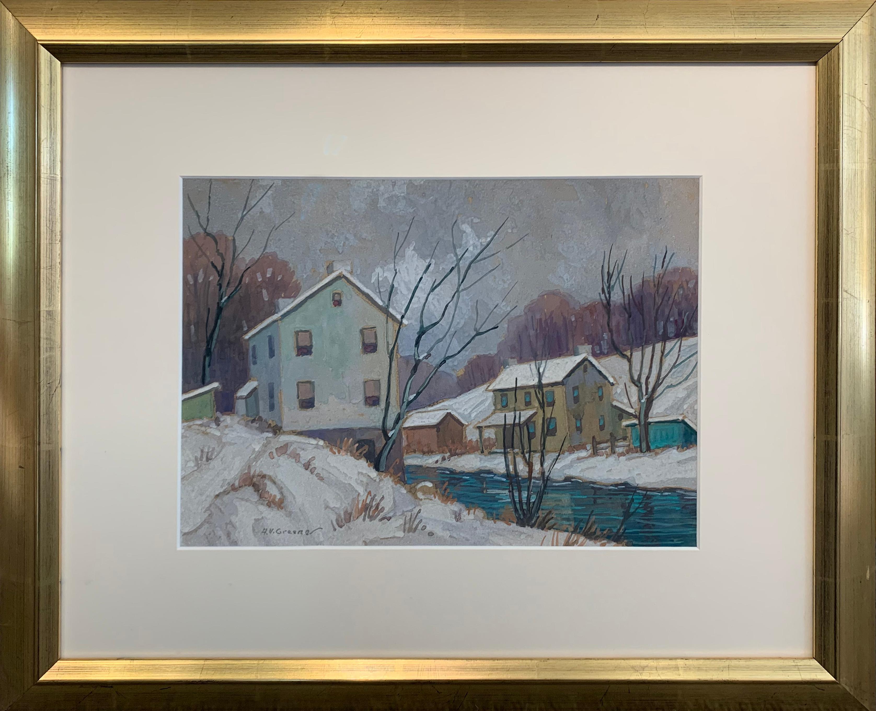 Winter Homes Creek Side, American Impressionist Winter Snow Landscape