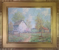 The Joy of Spring, American Impressionist Landscape, Farm Scene, Oil on Canvas