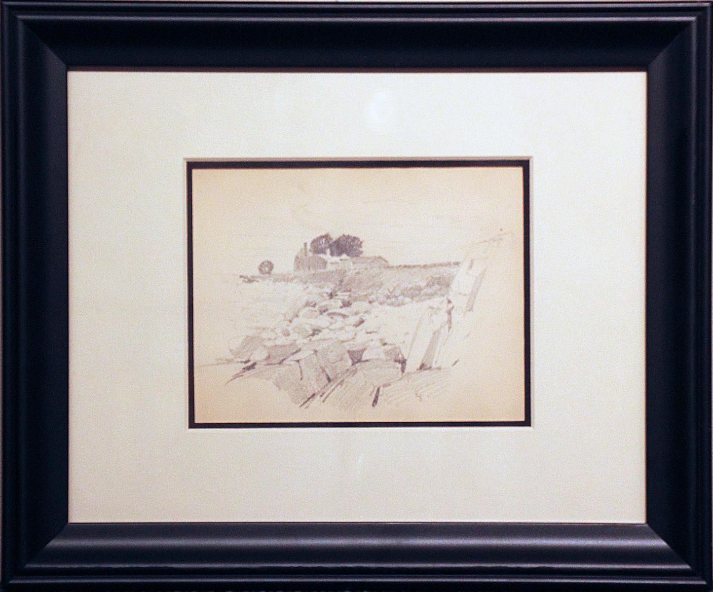 Rocks and Farmhouse, American Impressionist, Miniature Pencil Drawing, 1899
