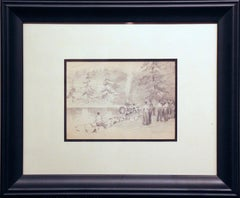 Figures and Firetruck, American Impressionist, Miniature Pencil Drawing, 1899