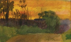 Sunset Landscape, American Impressionist, Miniature Watercolor Painting, 1899