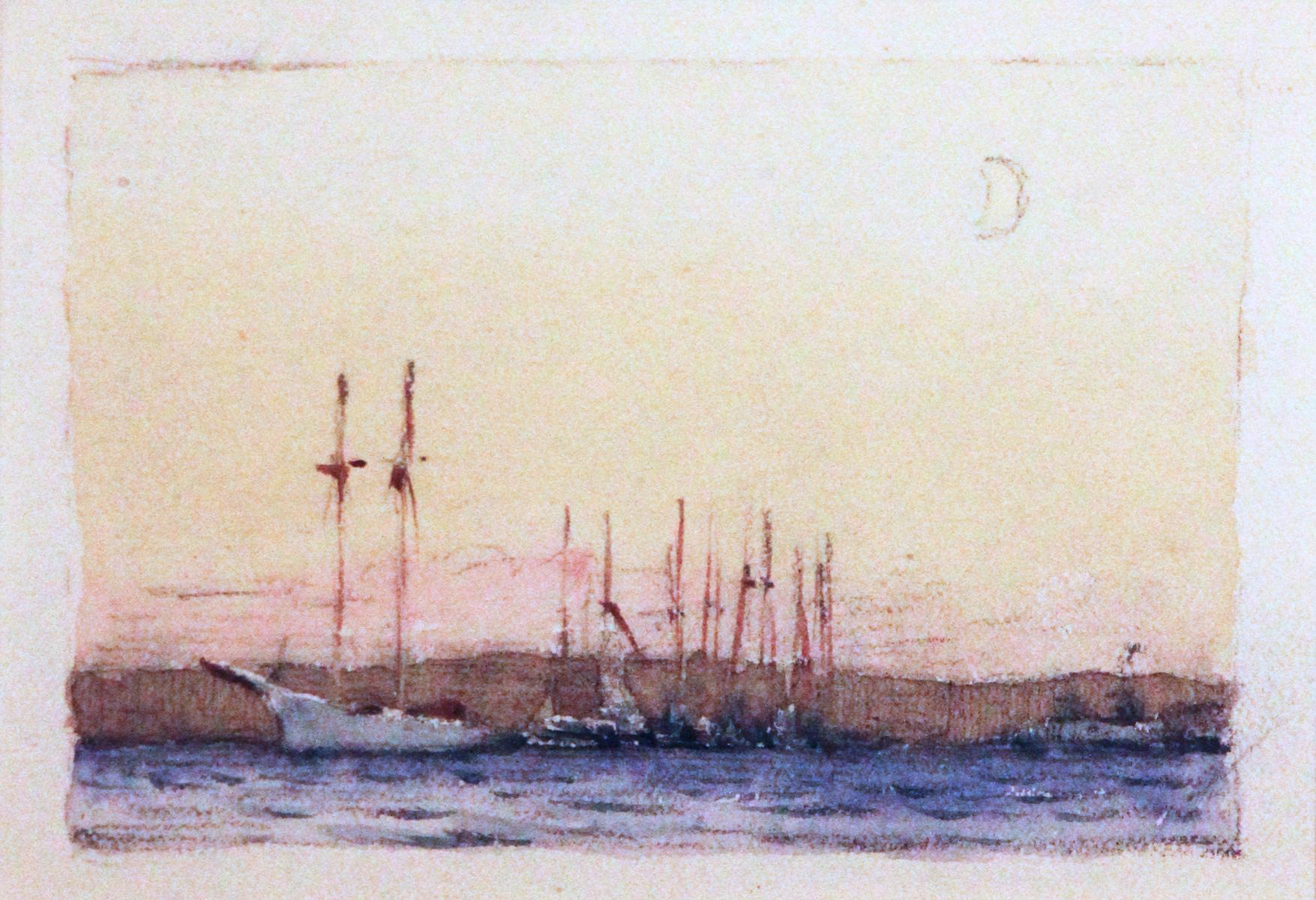 Moonlight Sailboats, American Impressionist, Miniature Watercolor and Pencil