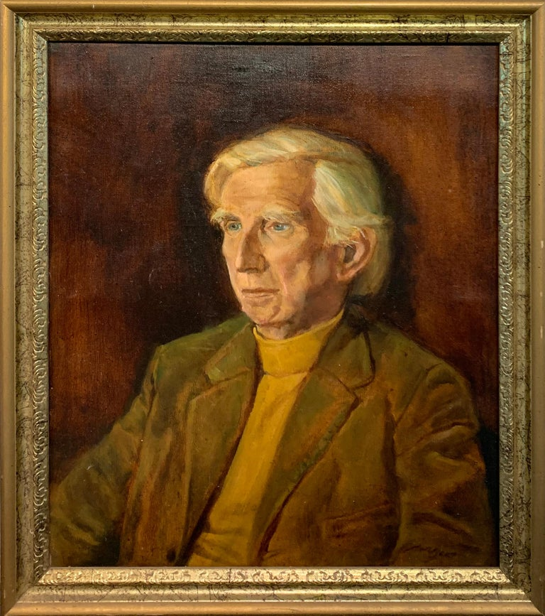 Noble F. Beacham Portrait Painting - Portrait of the Artist with Four Original, Signed Watercolor Seascapes by Artist