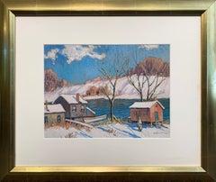 River Cabin, Winter, American Impressionist snow Landscape, Signed and Framed